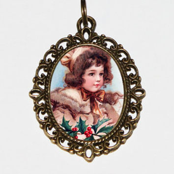 Christmas Girl Necklace, Holly, Mistletoe, Victorian, Holiday Jewelry, Bronze Oval Pendant
