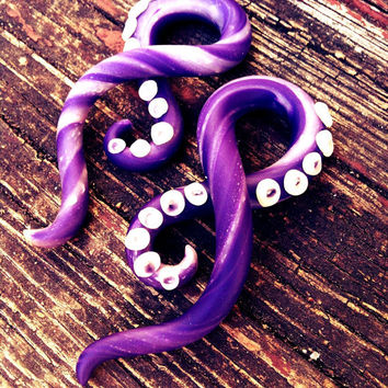 Purple Goddess Tentacle Fake gauged earrings