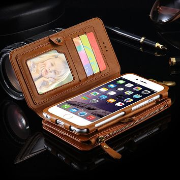 Two-Piece Wallet Pouch Case With 18 Card Slot For iPhone 7 Plus 6 6S Plus 5S SE For Samsung Galaxy Note 5 S6 Edge Plus Retro Bag