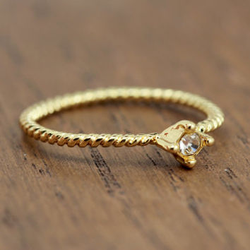 tiny stacking diamond ring, gold plated, rope band, bohemian