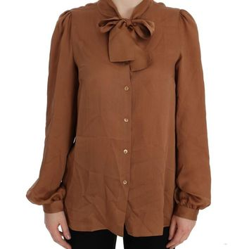 Brown Silk Button Down Blouse