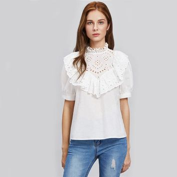 White Eyelet Embroidered Frill Trim Puff Sleeve Women Blouses Shirt Autumn Elegant With Ruffle Cute Blouse