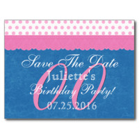 Save the Date Any Year Birthday Pink Blue Lace P08 Postcard