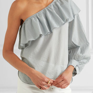 APIECE APART - Bergamot one-shoulder ruffled cotton-voile top