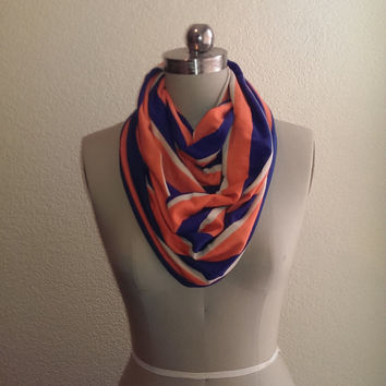 Apricot Orange Navy Blue and Tan Stripe Women's Retro Vintage Inspired Jersey Knit Infinity Scarf