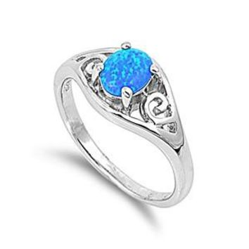 Sterling Silver Oval Filigree 9MM Blue Lab Opal Ring