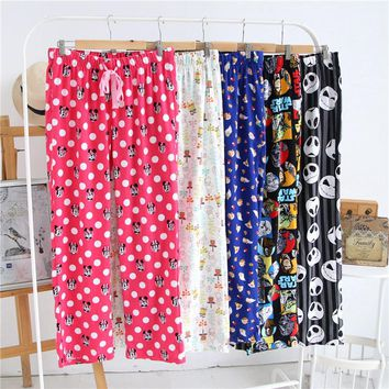 Women's Sleep Pants Antumn Cotton flannel Cartoon loose trousers Men And Women Sleep Bottoms Long Pants