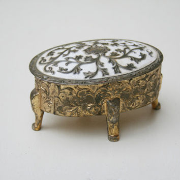 Vintage Small Jewelry Box with White and Gold Lid with Red Lining, Leaf Detail - Made in Japan