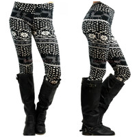 Be A Deer Black Printed Leggings - One