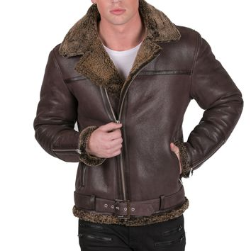 Shearling Styled Moto Jacket - Brown
