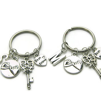 2 Best Friends Are The Key To My Heart Keychains, Best Friends Keychains,BFF Keychains,Pinky Promise Keychain,Friends Keychains,Personalized