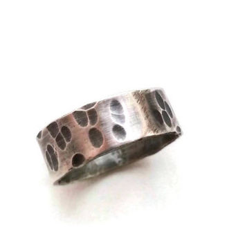 Antiqued Sterling Silver Ring with Hammered Texture -Wedding band for him or her