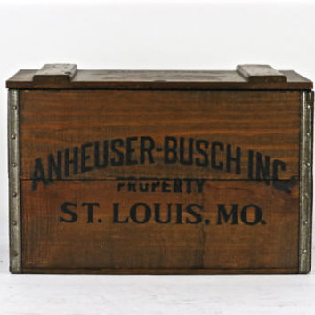Vintage Beer Wood Crate, Anheuser-Busch Beer Crate, 1976 Budweiser Beer Crate, Budweiser, Old Beer Crate, Bud Wood Crate, Anheuser-Busch Box