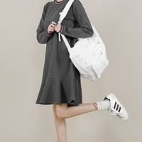 Charcoal Grey Girlish Casual Sweats Dresses Womens Clothing Korean