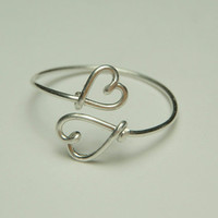 double heart ring sterling silver wire custom size by by keoops8