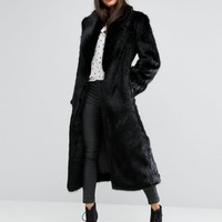Missguided Premium Faux Fur Longline Coat at asos.com