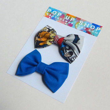 Star Trek Hair Bows / Kirk & Spock Hairbows / Geekery Bow Clips Set / Blue
