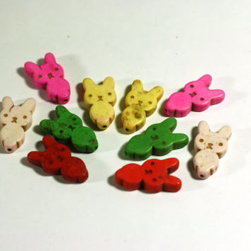 10 Bunny Rabbit beads in Orange, Green, White, Pink, and Yellow Howlite: Dyed Chunky Beads, 1 inch beads, 25mm - Large Gemstone Beads