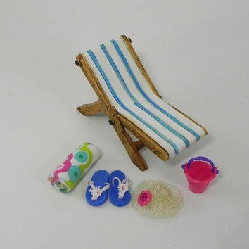 Fairy Garden Accessories Beach kit- 5 piece supplies - miniature lounge chair, flip flops, pail, handmade miniature beach towel and sunhat