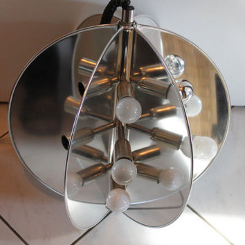 Original 70s Ceiling Fixture Awesome Big Silver MOON Eclipse shaped SPUTNIK Lamp Pop Molecular Design Space Age probably Made in Italy UFO