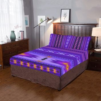 Native American Purple Pattern 3-Pieces Bedding Set