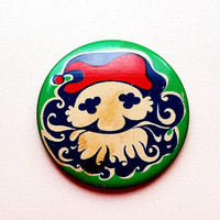 Adorable vintage Soviet era tin pin pinback button with Santa Claus St Saint Nick images depictions motif, made in the USSR (1970s)