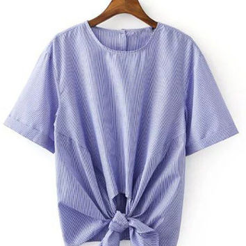 Blue Short Sleeve Vertical Stripes Knotted Blouse