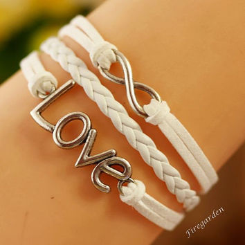Infinity wish bracelet  Love Bracelet   pu leather  Cord and suede leather bracelet