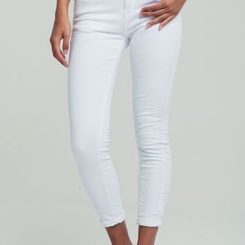 Skinny denim jeans in white
