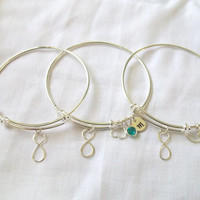 Set of 3 Personalized Alex and Ani Style Infinity Bracelets -- Silver, Birthstone, Initial, Bride/Bridesmaids Jewelry -- MADE TO ORDER