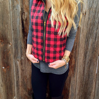 Red Plaid Vest - FINAL SALE