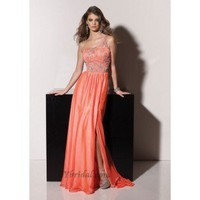 A-Line One-Shoulder Floor-Length Elastic Satin Prom Dress SAL1083