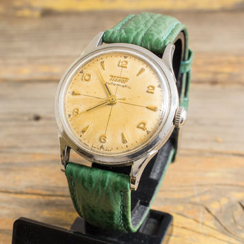 Vintage stainless steel automatic Tissot mens watch, vintage swiss watch