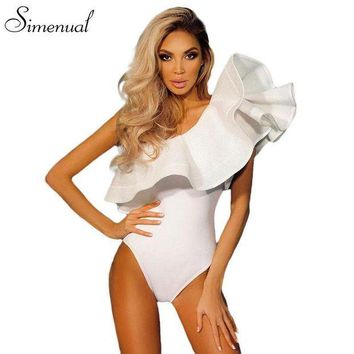 ESB1ON One shoulder ruffles fitness bodysuit women clothing 2017 fashion sexy hot slim bodycon jumpsuits solid ladies bodysuits rompers