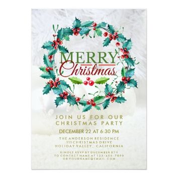 Elegant Watercolor Holly Wreath Christmas Party Card
