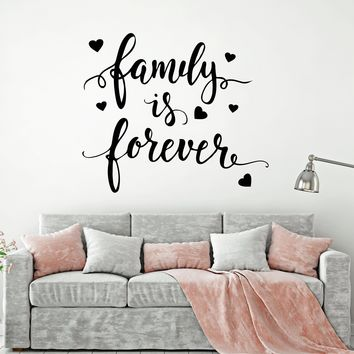 Vinyl Wall Decal Quote Words For Home Family Forever Stickers (2495ig)