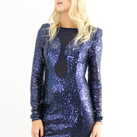 Midnight Dance Navy Sequin Mini Dress With Mesh Inset