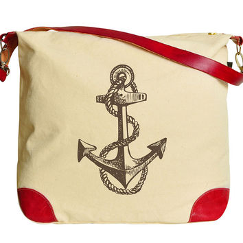 Set of Nautical Printed Canvas Leather Trap Tote Shoulder Bag WAS_33