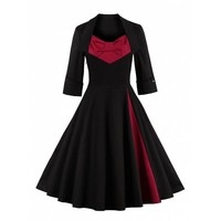 Retro Big Bow Design Color Block Sweetheart Neck Dress
