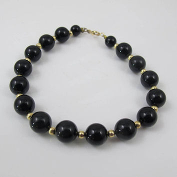 Gold Onyx Bead Bracelet. 14K Yellow Gold Black Onyx Beaded Bracelet. Stacking Bracelet. Gold Black Onyx Jewelry.