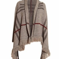 Long Sleeve Grid Print Tassel Detail Cape in Grey