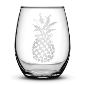 Wine Glass with Pineapple Design, Hand Etched