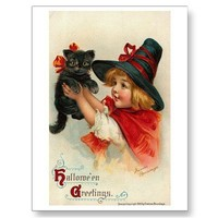 Little Girl with Black Kitten Postcard from Zazzle.com