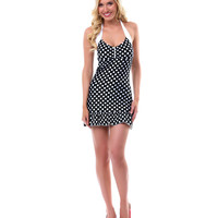 LOLITA GIRL Black & White Polka Dot Skirted Marilyn Swimsuit - Unique Vintage - Prom dresses, retro dresses, retro swimsuits.