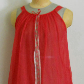 60s Babydoll Nightie / Cherry Red Double Chiffon and Lace Nightgown Size Small