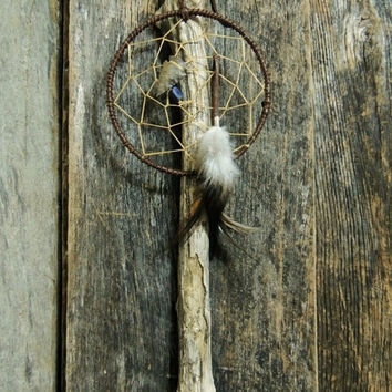 Dream Catcher Spalted Driftwood Hope Stick Deer Lace Leather Lapis stone Feathers Handcrafted