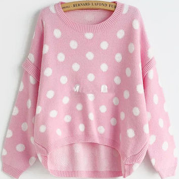 Pink Polka Dot Long Sleeve Sweater