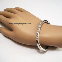 Rhinestone Channel Bracelet Bangle Silver Tone Vintage Spring Hinged Round Faceted Crystals Clamper Style Oval Wrist Ring