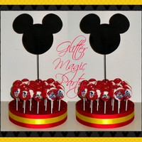 Mickey Mouse Stands - Lollipops or Cakepops Stands - Mickey Mouse Inspired Party - Mickey Mouse Party Theme - SET OF 2