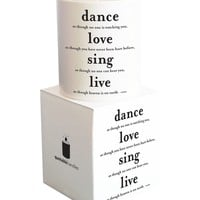 Quotable Cards - Dance Love Sing Live - Candle with Gift Box
